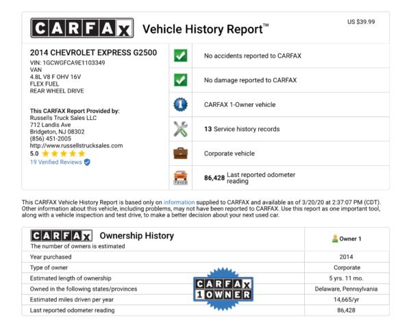 CARFAX SNIP 600x474 - 2014 CHEVROLET G2500 EXPRESS CARGO