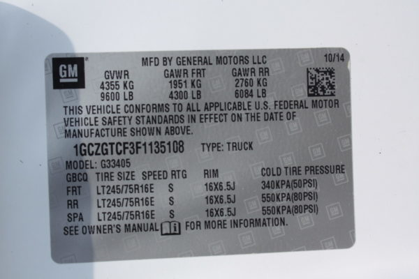 0223 28 1 scaled 600x400 - 2015 CHEVROLET G3500 EXPRESS CARGO