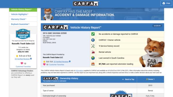 CARFAX 600x336 - 2016 GMC G3500 SAVANA 14' BOX DURAMAX DIESEL