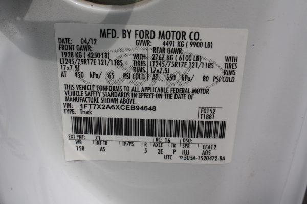0268 21 600x400 - 2012 FORD F250 EXT CAB XL PICKUP TRUCK